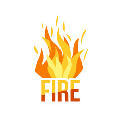 Red fire icon isolated on background vector