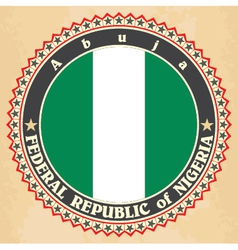 Vintage label cards of Nigeria flag vector image vector image