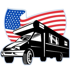 Camper van with american flag stars and stripes vector image vector image