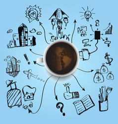 coffee earth planet business industry vector image