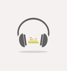 color headphones with music icon on beige vector image vector image