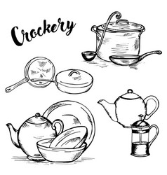 doodle drinkware cups and saucepans vector image vector image