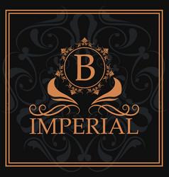 imperial gold letter b elegant emblem vector image