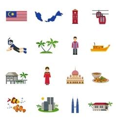 Malaysian Culture Symbols Flat Icons Set vector image