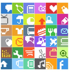 Modern social media color buttons interface icons vector image vector image