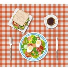 salad coffee sandwich plates fork knife vector image vector image