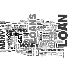 what type of loan do you need text word cloud vector image