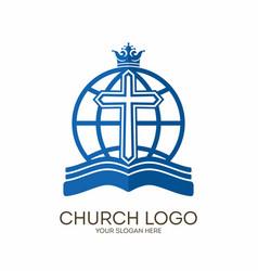 Bible globe and cross vector
