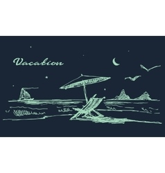 Drawn landscape seaside night beach boat vector image vector image