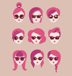 fashion girls in glasses icon set vector image