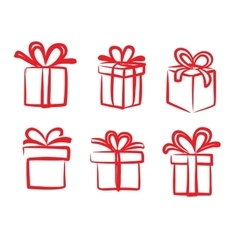 red gift icon vector image