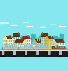 Train on railway with outdoor town landscape vector