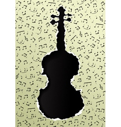 violin torn paper vector image vector image
