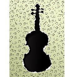 violin torn paper vector image