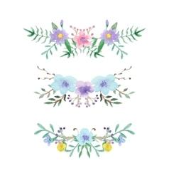 Watercolor floral border set vector