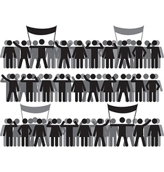 Crowds and protestant people vector image