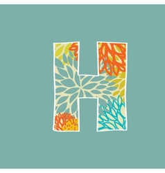 Hand drawn floral letter H isolated on blue vector image vector image