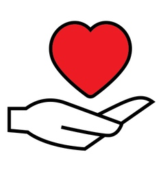 Heart on hand icon vector image