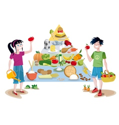 Kids and Food Guide Pyramid vector image vector image
