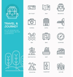 Set of Modern Line icon design Concept of Travel vector image vector image