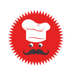 stamp with face chef and hat vector image