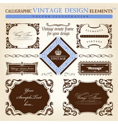 vintage frame ornament set vector element decor vector image