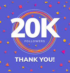 20k followers social sites post greeting card vector