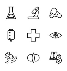 9 science icons vector image