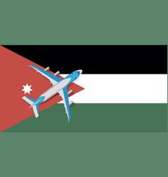 A passenger plane flying over flag jordan vector