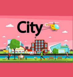 abstract city - town urban landscape with vector image