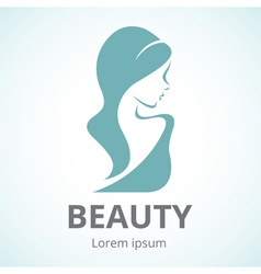 Abstract logo beautiful woman in profile vector image