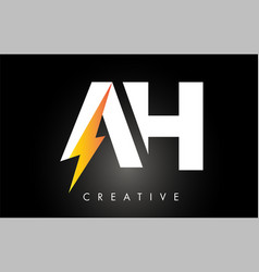 ah letter logo design with lighting thunder bolt vector image