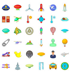 Air transport icons set cartoon style vector