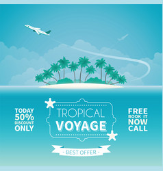 airplane travel or tropical voyage concept in vector image
