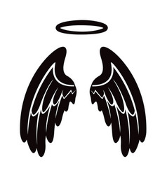 angel wing with halo icon vector image