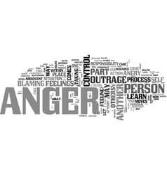 Anger control text word cloud concept vector