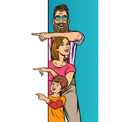 announcement advertising family dad mom son vector image