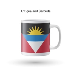 Antigua and Barbuda flag souvenir mug on white vector image