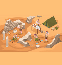 Archeology isometric sign or archeologist at work vector