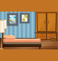 Bedroom scene with bed and wooden closet vector