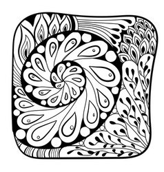 Black and white pattern in a entangle style vector