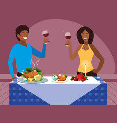 Black couple celebrating thanksgiving day vector