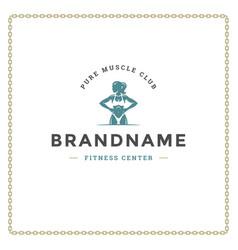 Bodybuilder woman logo or badge vector