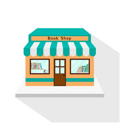 Bookstore icon with long flat shadow on white vector
