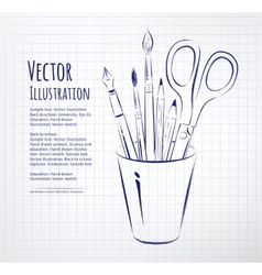 Brushes pen pencils and scissors in holder vector
