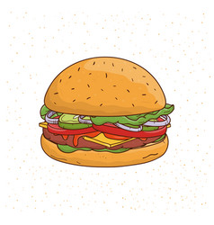 Burger with cheese cucumber cutlet lettuce vector