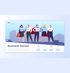 business heroes in city team man and woman vector image