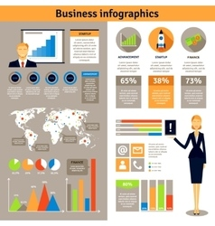 Business infographic flat banners poster vector image