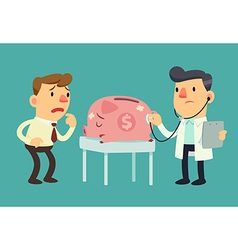business man and sick piggy bank vector image