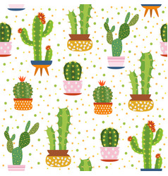 cacti seamless pattern spiky cactus desert vector image